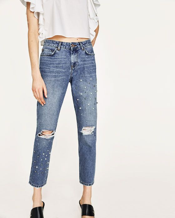 1705034f538 Image 2 of MID RISE JEANS WITH PEARL BEADS from Zara