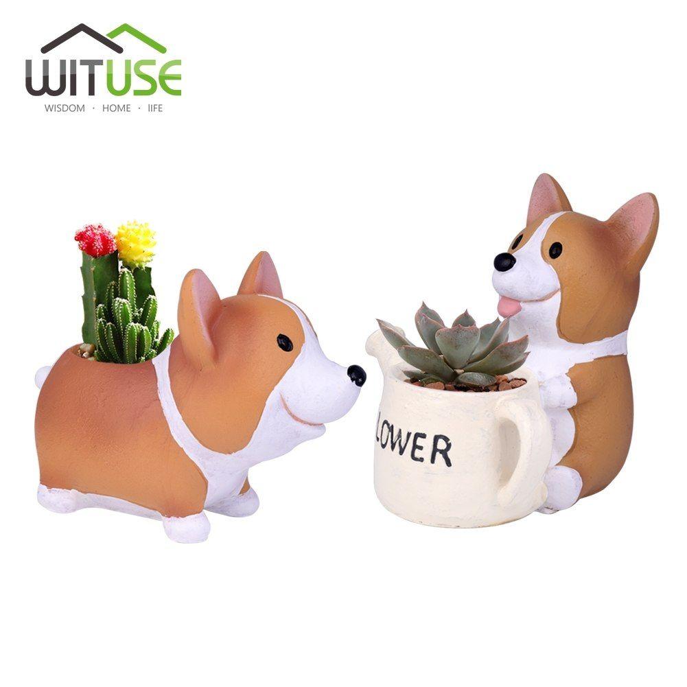 Wituse 2018 New Resin Mini Flower Pot Planter Corgi Garden Plants Succulents Bonsai Potted Flowers Desktop Garden Supplies Garden Supplies