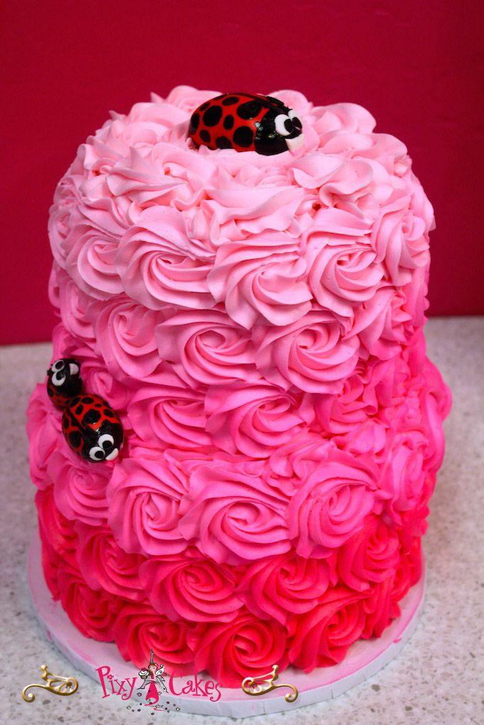 Birthday Cake Girl 2 Tier Lady Bugs Pink Buttercream Swirls Pixy
