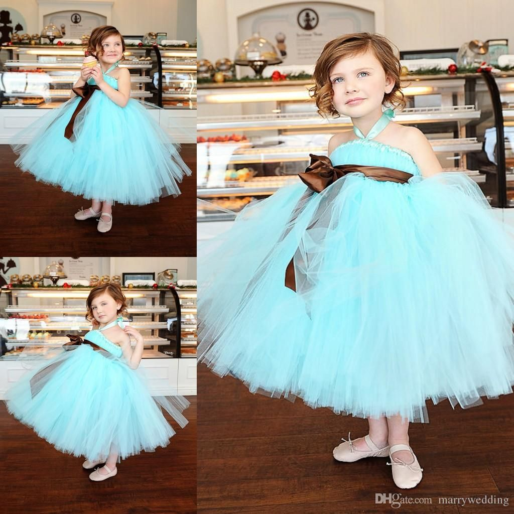 Mint Green Tutu Cheap Flower Girls Dresses Halter A Line Tea Length