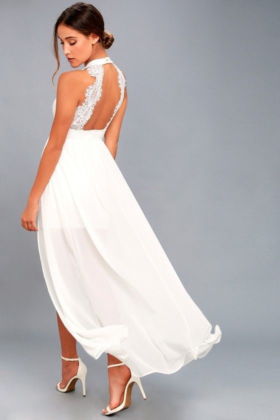 17c516235f7 Take the My Beloved White Lace Maxi Dress out for a twirl and turn some  heads! Medium-weight knit shapes a high
