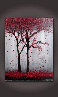 Thanks SO MUCH for Visiting my Gallery.  To see close ups please click on above images    -Artwork description: Trees and birds   -Size:16 x 20 x 0.5 CANVAS WILL ARRIVE WIRED READY TO HANG. -Medium: acrylic on canvas.  -Dominant Colors: red, black, grey,white.  -FINISH: Coats of Varnish have been Applied to the Painting for Protection.    Thank you so much for your interest in my art