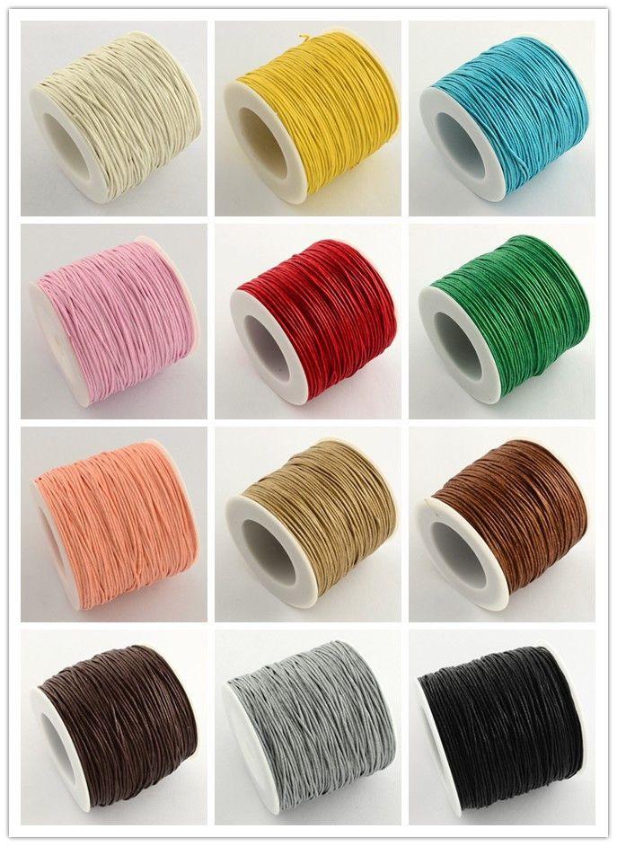 74 m/roll Filo Cerato Cavo del Cotone 1mm String Strap Fit Braccialetto di shamballa Collane Risultati Dei Monili per DIY, circa 27 colori