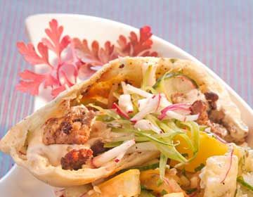 Pork Shawarma in Pita with Tzatziki - Pork Food Service