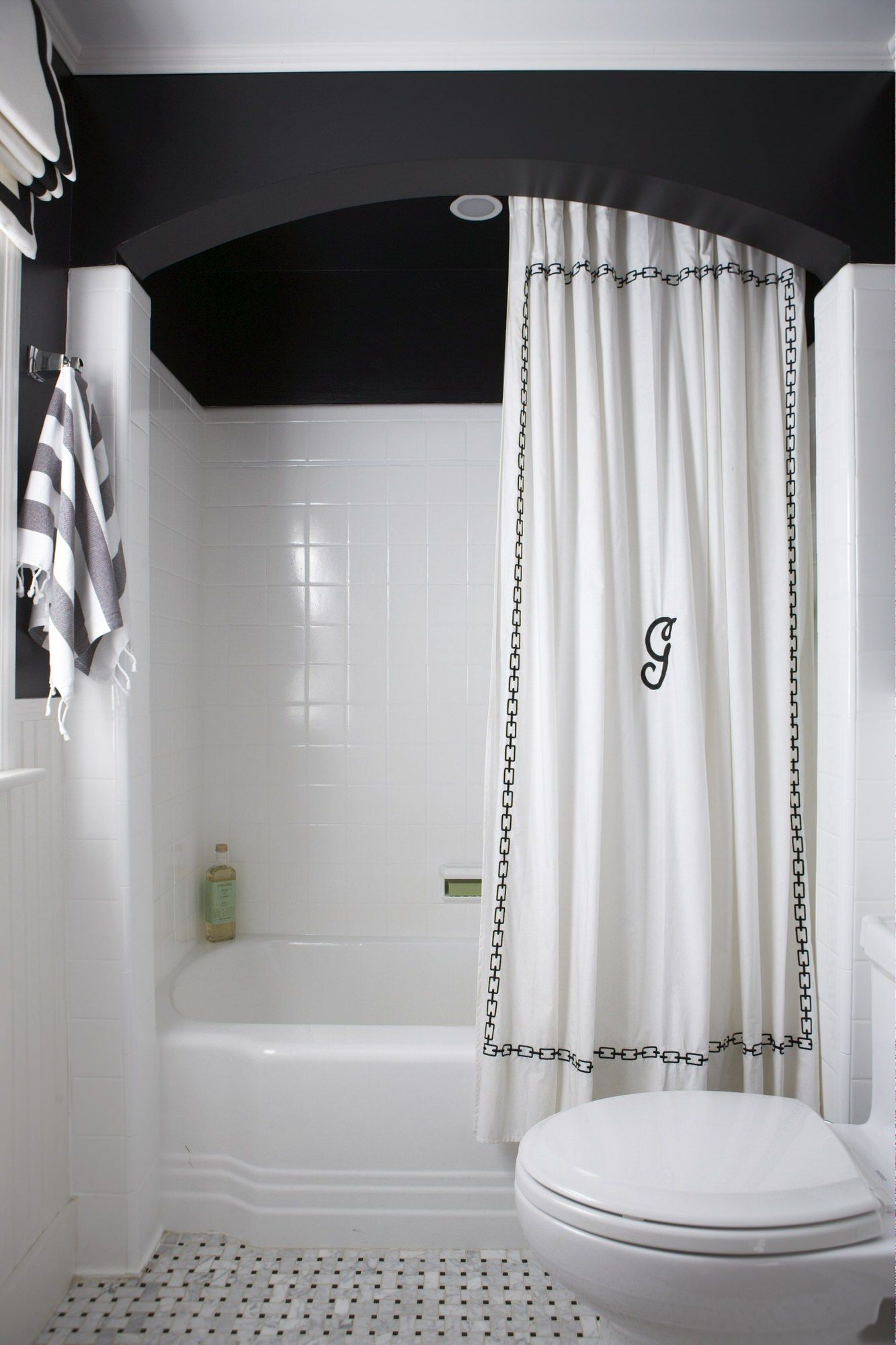 Classic Colonial Erin Gates Design Black Bathroom White