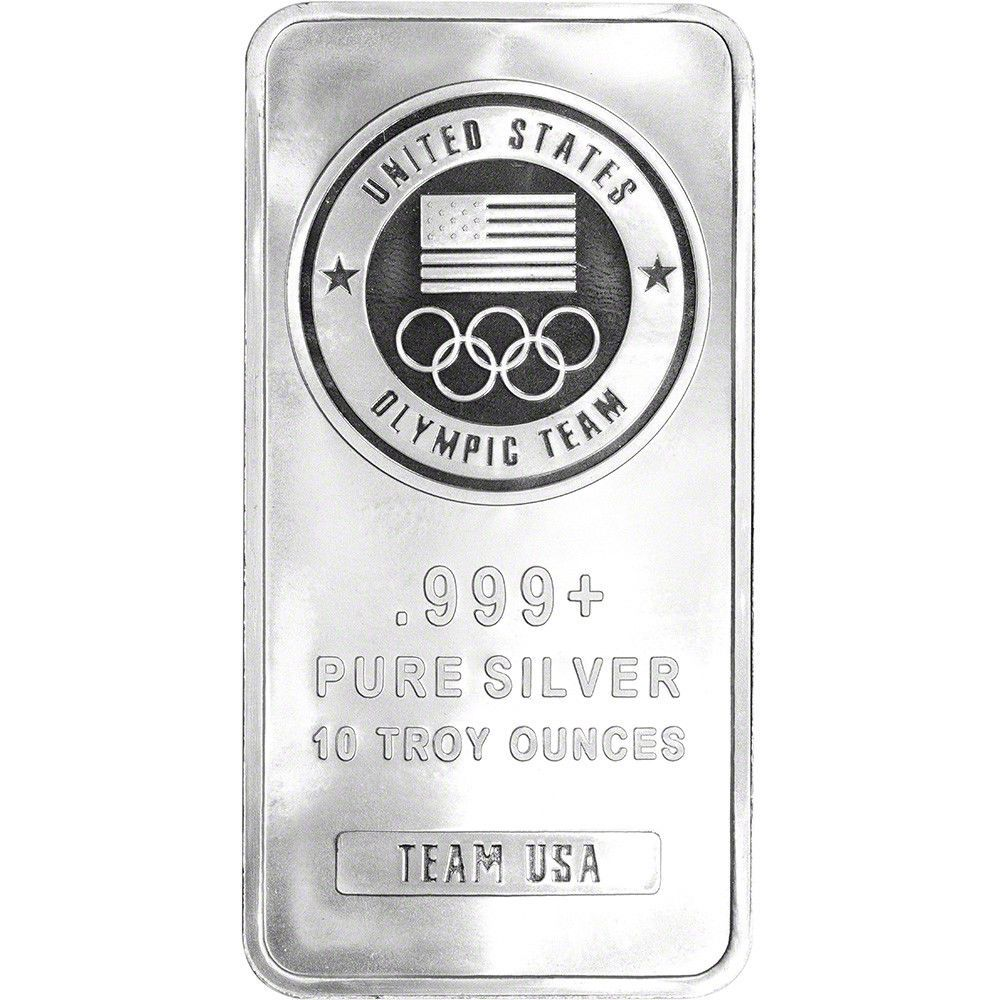 10 Oz Silver Bar United States Olympic Committee Team Usa 999 Fine Sealed Silver Bars Olympic Committee Team Usa