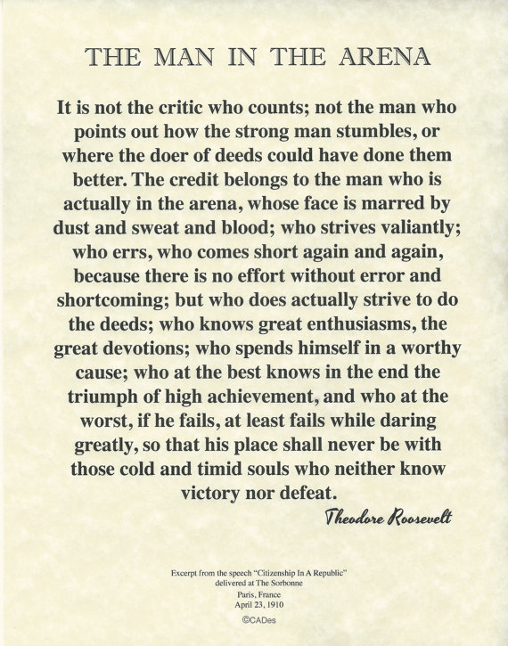 "The Man In The Arena Theodore Roosevelt Quote on Archival Fine Parchment 8.5""x11"""