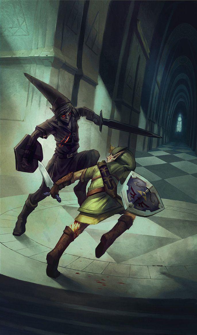 Dark Link and Link - Legend of Zelda series | Legend of ...