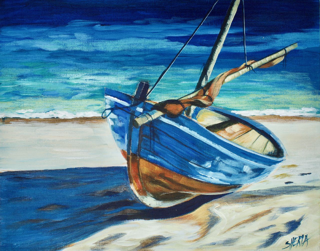 Boat on the beach step by step acrylic painting on canvas