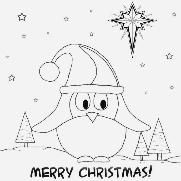 Disegni Da Colorare Natale Un Grande Pinguino Con Il Cappello Di