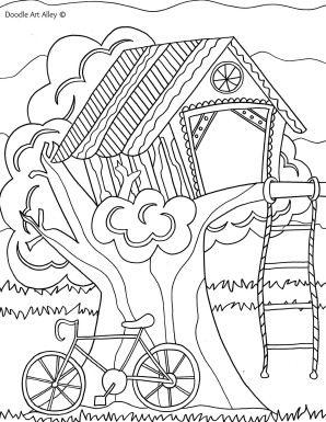 kleurplaat hut met afbeeldingen kleurplaten zomer