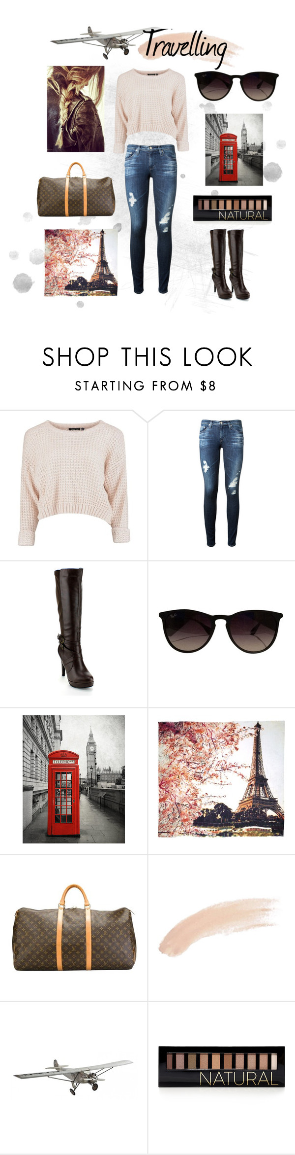 """""""Travelling"""" by niduni ❤ liked on Polyvore featuring AG Adriano Goldschmied, Forever Collectibles, Ray-Ban, Fay et Fille, Louis Vuitton, Topshop, AM-Living and Forever 21"""