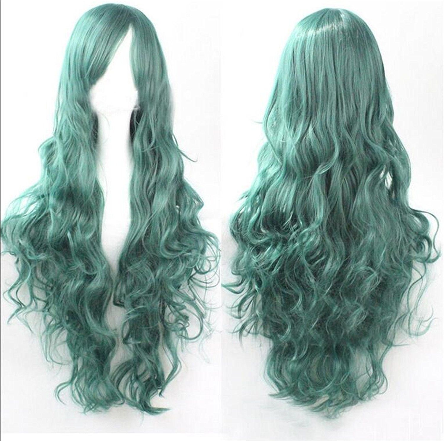 ATOZWIG Long Pastel Green Curly Wavy Party Show Celebrity