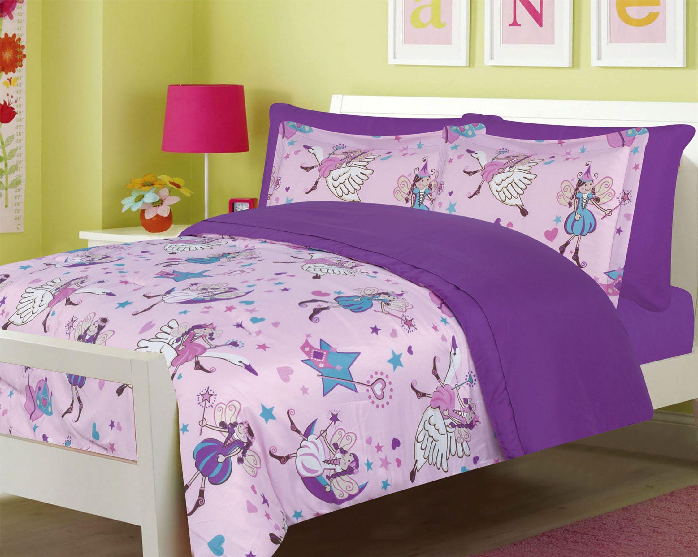 Girls bedding twin 5 pc fairy princess purple comforter