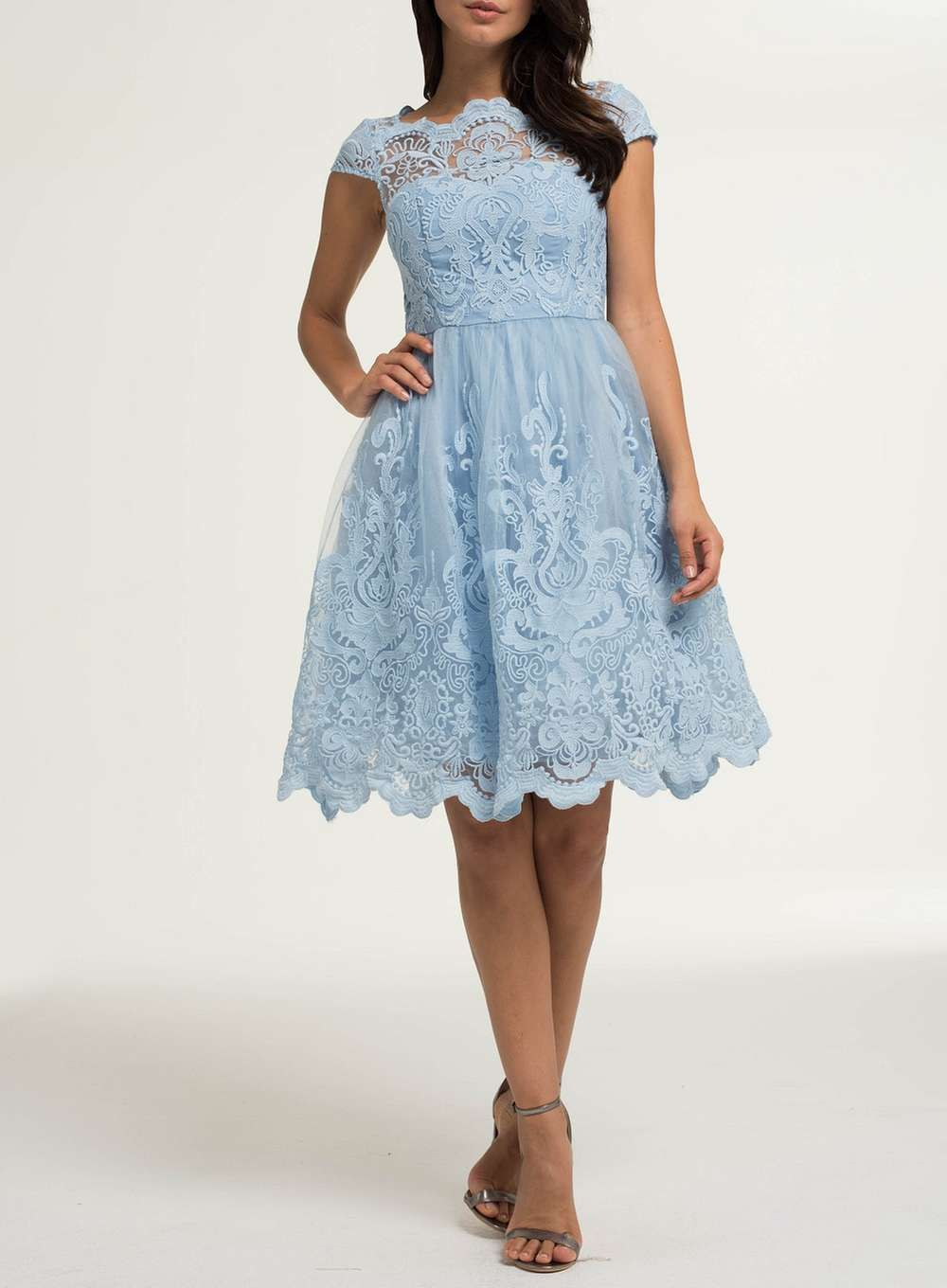 Chi Chi London Petite Blue Embroidered Tea Dress | Products