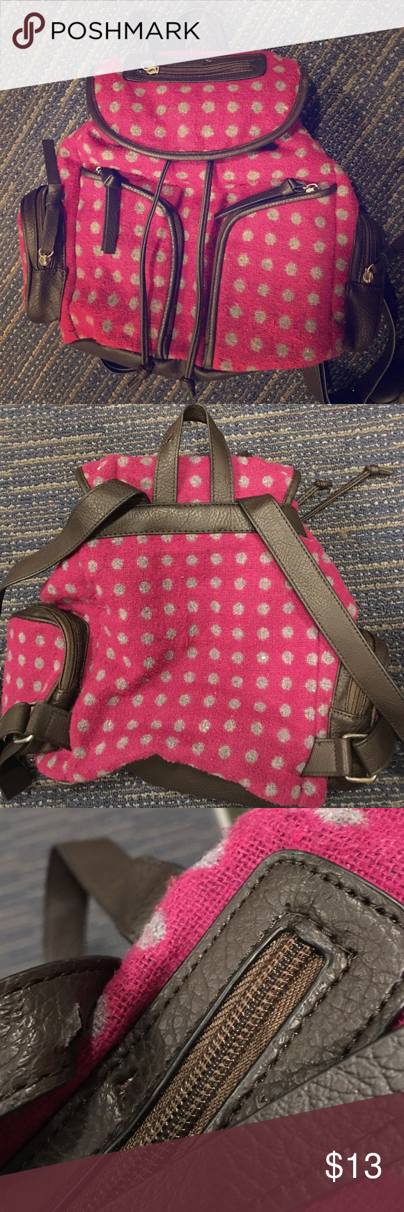 Bruno Putple and grey Polk-a-dot backpack! In good used condition. Has two cuts in the leather shown in pic( small) clean inside and out! bueno Bags Backpacks