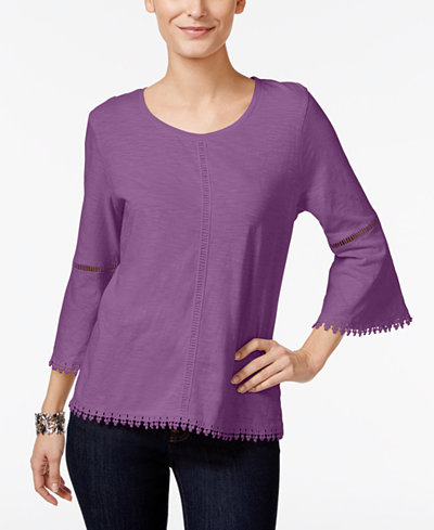 15.99$  Watch now - http://viuol.justgood.pw/vig/item.php?t=xb2j3y7295 - Crochet-Trim Bell-Sleeve Top, Only at Macy's
