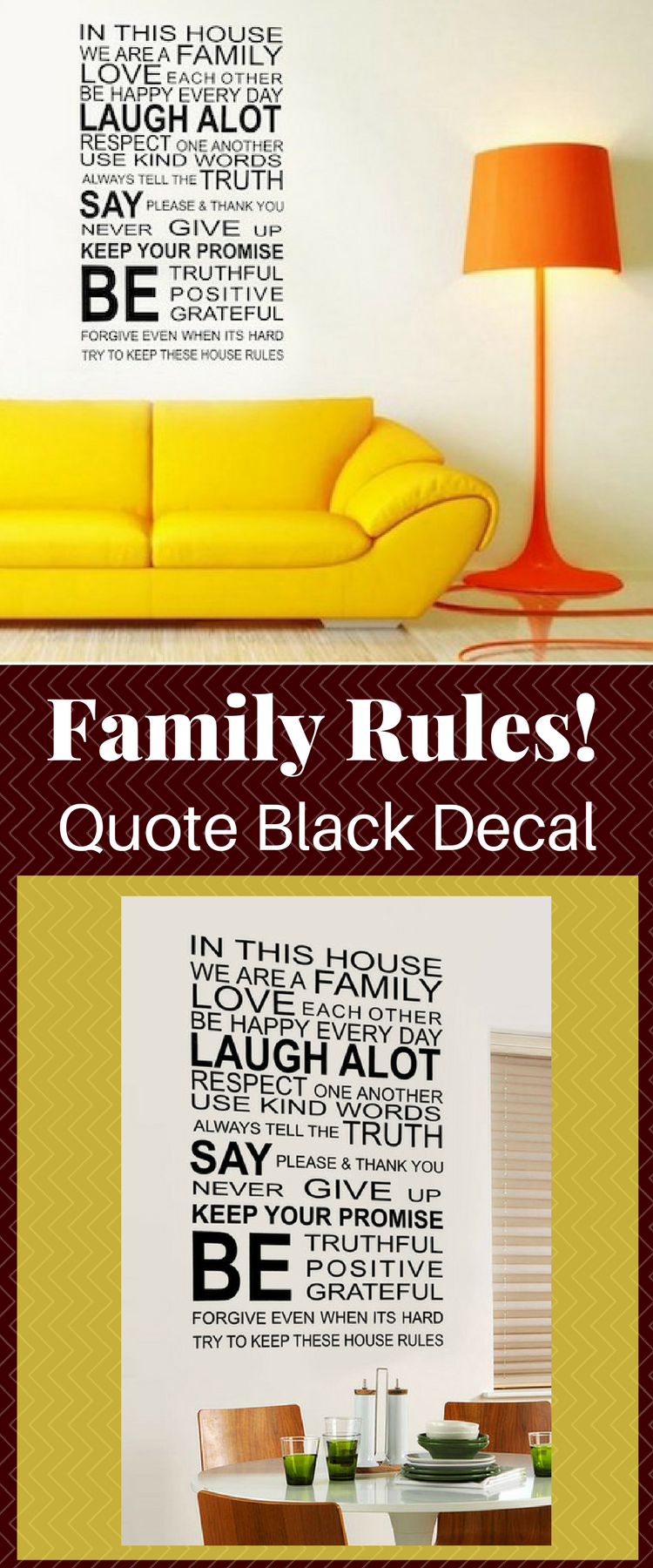 Family Rules Quote Black Decal. Living room wall decoration. DIY ...