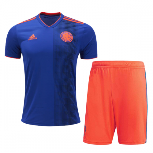 d2913ce5f1a 2018 World Cup Colombia Away Navy Orange Jersey Kit(Shirt+Short ...