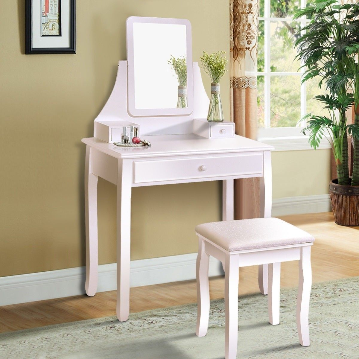 Square mirrored vanity dressing table set with storage boxes