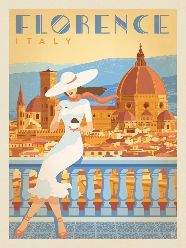 Anderson Design Group is part of Travel illustration - This vintagelooking World Travel poster celebrates the classic beauty of Florence, Italy  Rendered by Anderson Design Group's awardwinning artists in the romantic style of 20thCentury poster art, this design is sure enhance the decor of any adventurous traveler  Perfect for decoration as a framed print, notecard, banner, metal sign, or postcard—it makes the perfect conversation piece—(in Italian, of course!)