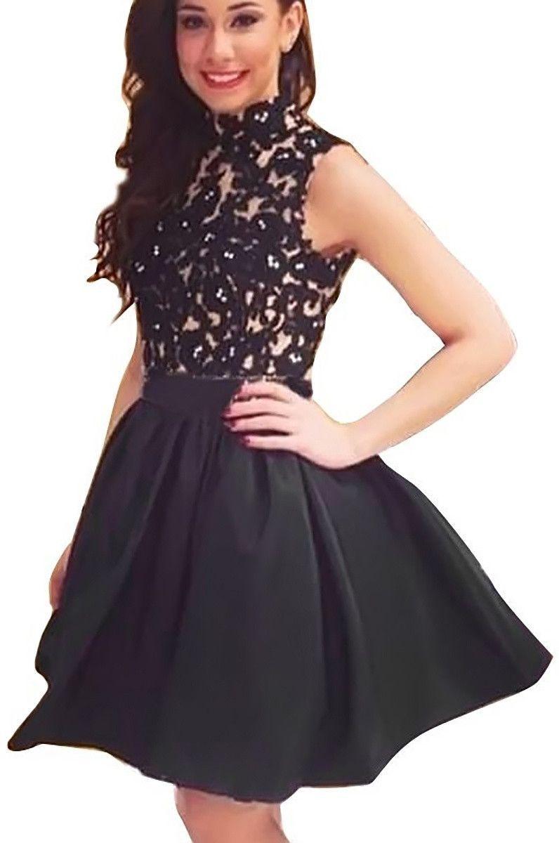 Fancyinn women turtleneck sleeveless lace floral mini