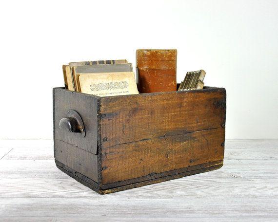 Rustic Storage Boxes Vintage Rustic Wood Box Industrial Storage By Havenvintage Vintage Wooden Crates Rustic Wood Box Rustic Storage Boxes