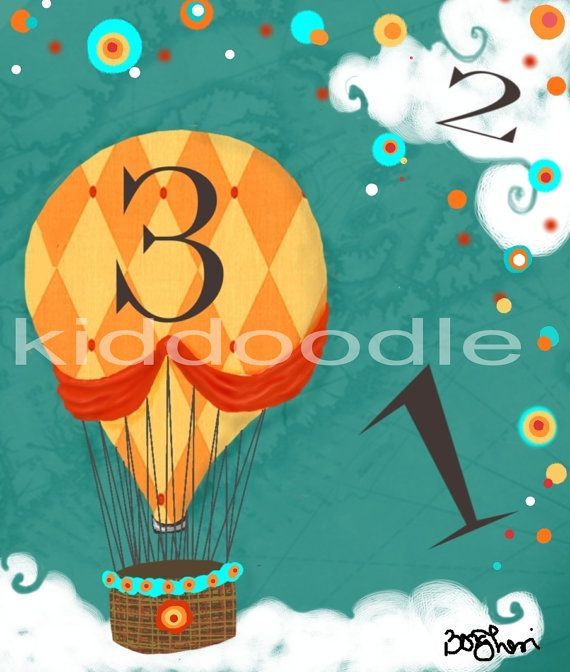 Harlequin Hot Air Balloon  fine art print for children, kid's rooms and nursery  8x10 or 5x7 print of original painting FREE US SHIPPING