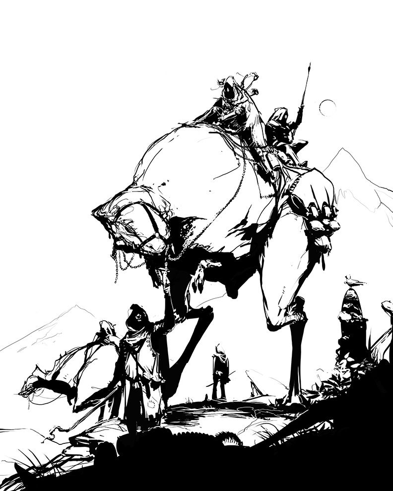 Nomads. Mounts are never something as traditional as horses; they're always something weird. ACTUAL NUMENERA ART