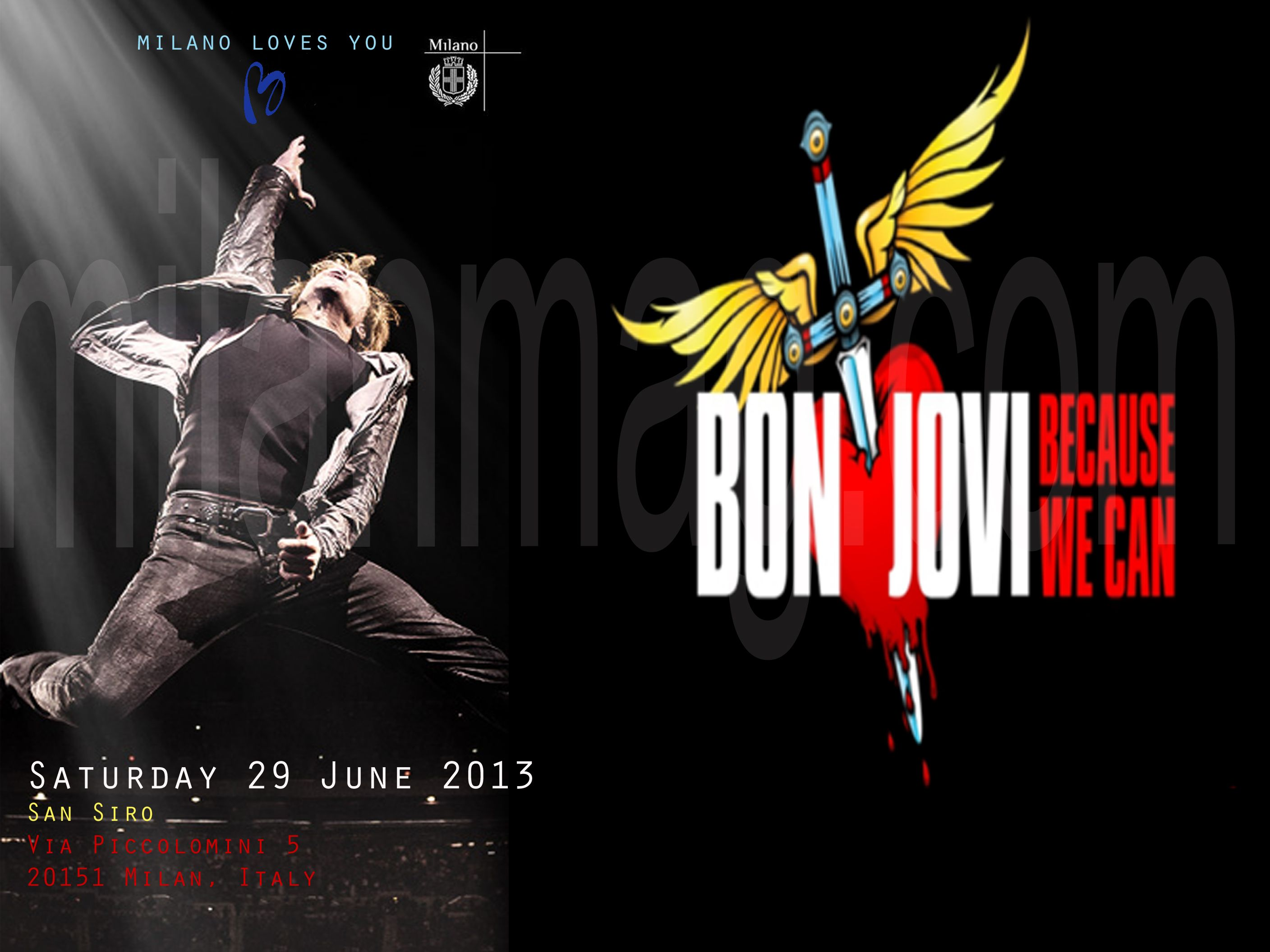 THE CONCERT OF BON JOVI IN MILAN IS ON  JUNE 29TH AT SAN SIRO STADIUM AND STARTS AT 20:30  DONT MISS THE DATE       BOOK YOUR ROOM AND GET YOUR APPOINTMENT AT SAN SIRO  http://www.hotelscombined.com/IT/Hotel/Sheraton_Diana_Majestic_Hotel.htm?a_aid=68109