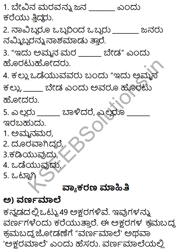 Siri Kannada Text Book Class 5 Solutions Gadya Chapter 1 Ottige Baluva Ananda 4 Textbook Lesson Syllabus