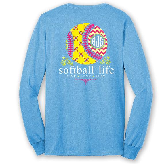 OFFICIAL TM SOFTBALL Life™ Custom Monogram Long Sleeve T-Shirt Softball Shirt Softball T hEMH2hDU0