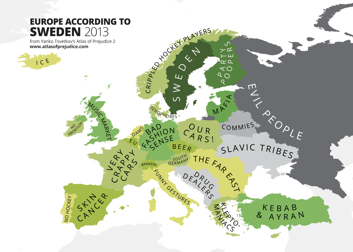 Europe according to sweden 2013 from atlas of prejudice by yanko atlas of prejudice europe as viewed by sweden funny maps gumiabroncs Images