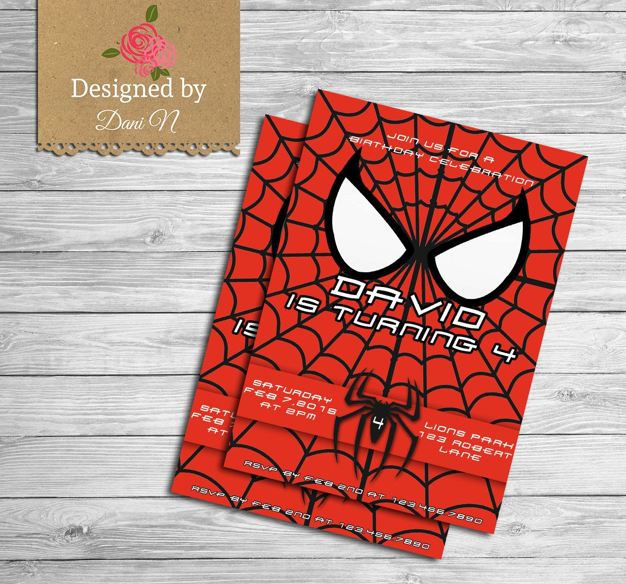 Spiderman Birthday Invitation, Superheroes Spider Man Party ...
