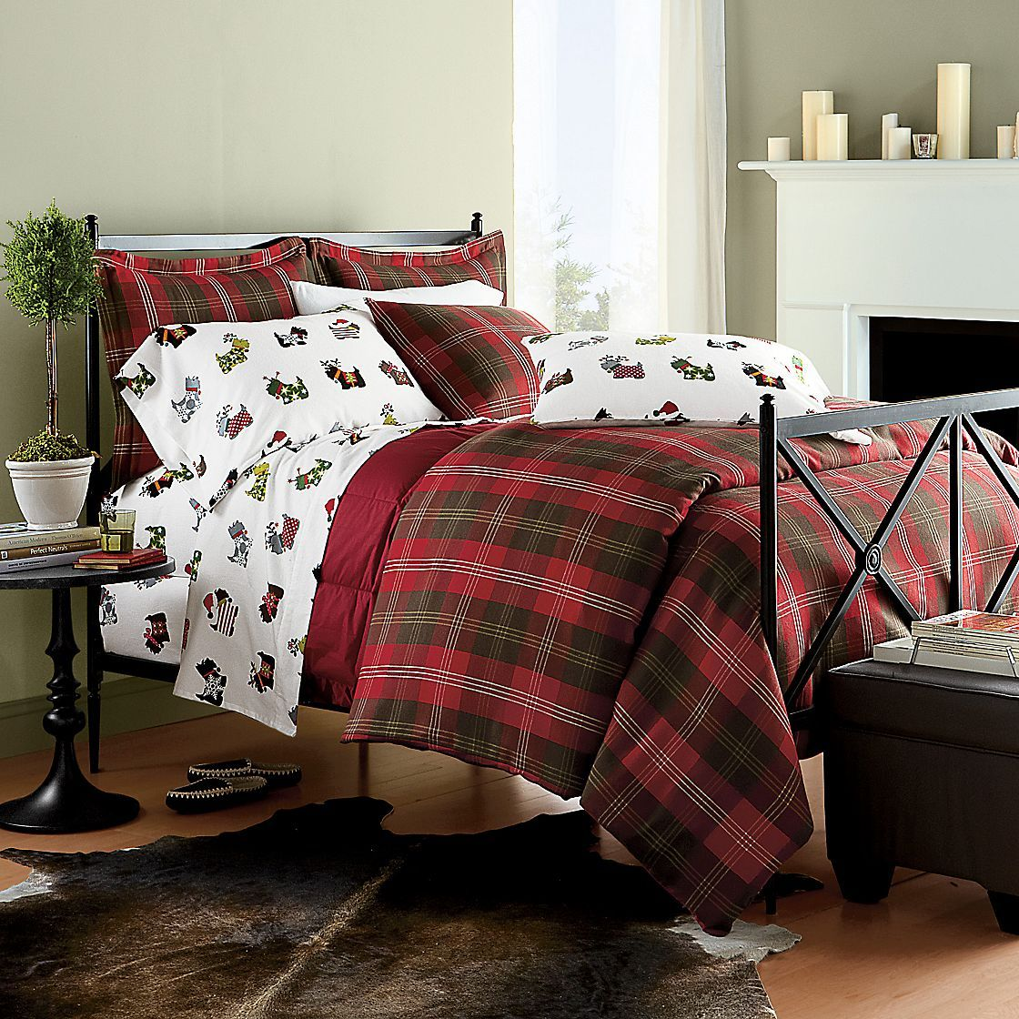Scottie Flannel Bedding  The Company Store  Jolly uOllyday