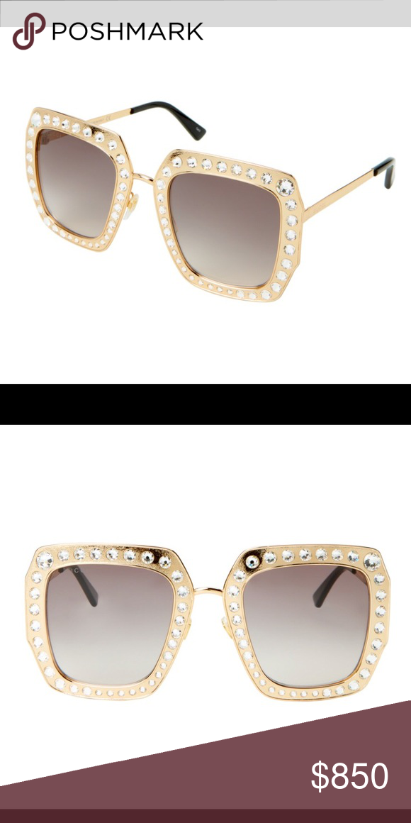 51300d598ede GUCCI 💗GG 115/S Gold-Tone Square Sunglasses New with tags Authentic Gucci