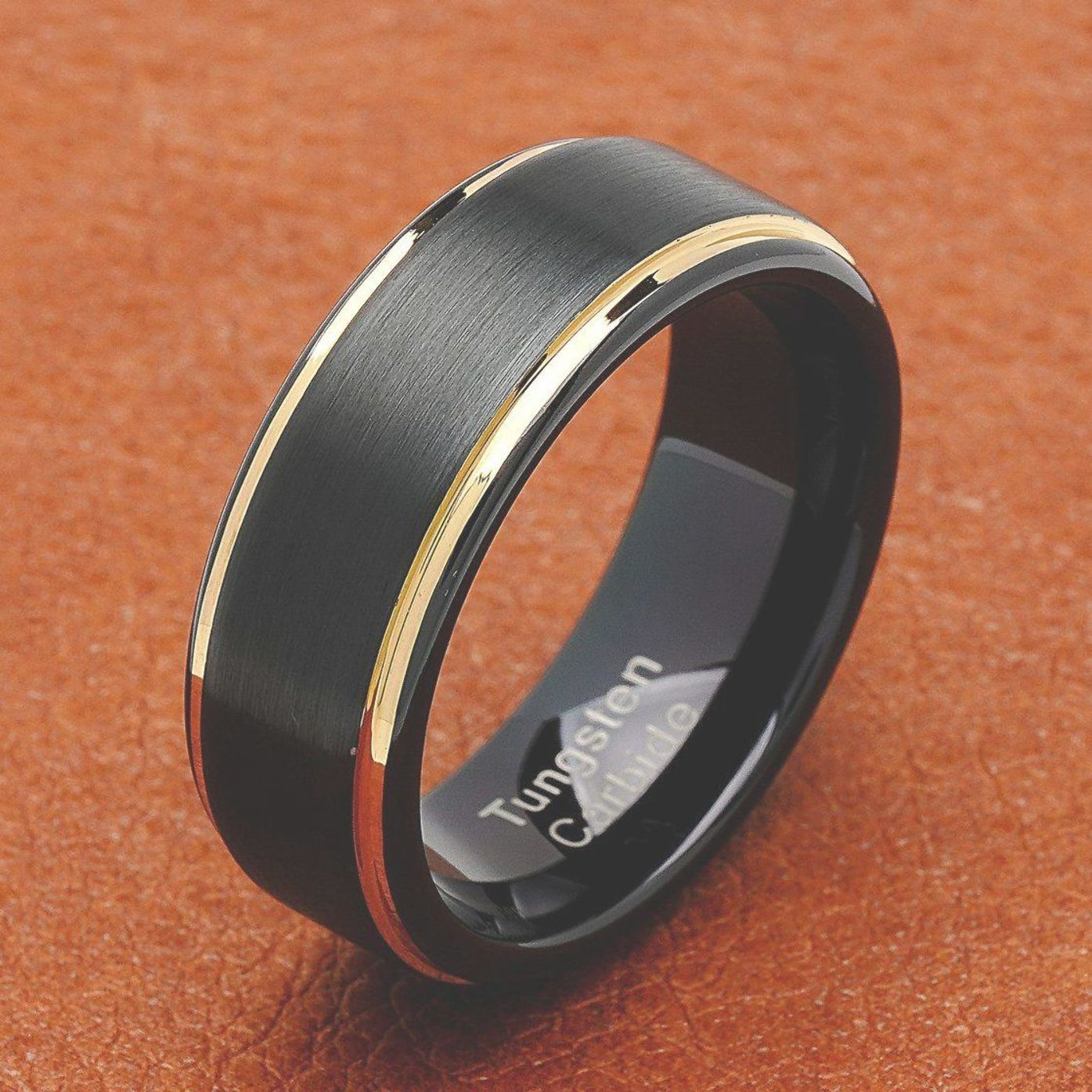 100s Jewelry Tungsten Rings For Men Two Tone Black Gold Wedding Band Center Brushed Engagement Tungsten Mens Rings Mens Gold Wedding Band Black Tungsten Rings