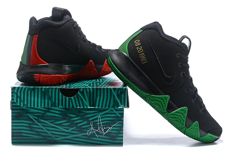 """separation shoes 7a779 a9806 2018 Nike Kyrie 4 """"BHM"""" Black/Green/Red/Metallic Gold For ..."""