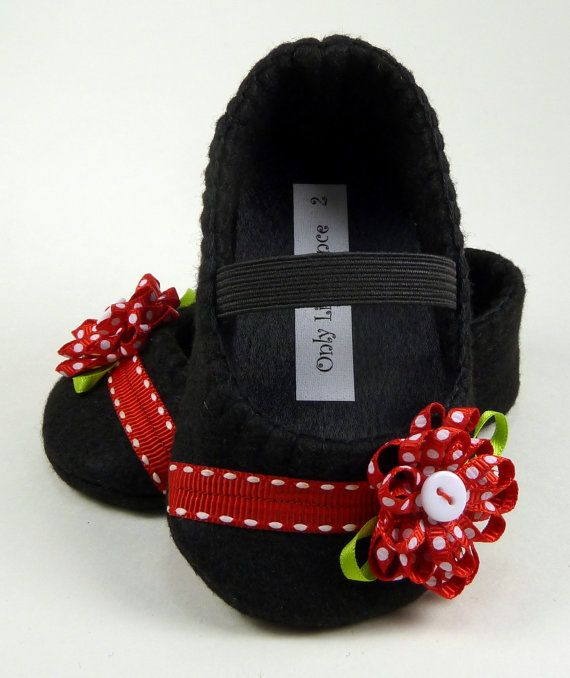 Baby Shoes Black and red mary jane por OnlyLittleOnce en Etsy ...