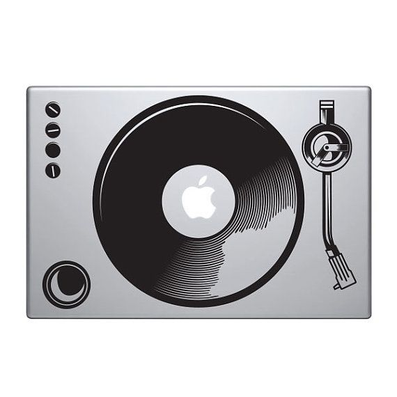 Turntable Vinyl Decal Sticker To Fit Macbook Pro - Custom vinyl decals for macbook pro
