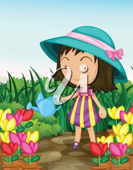 Illustration Of A Girl Gardening Images In 2019 Illustration