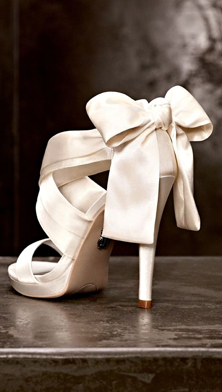 bb3d548ae11d15 vera wang satin wedding heels with bow.  3  3  3. White ribbon heels Bow  Wedding