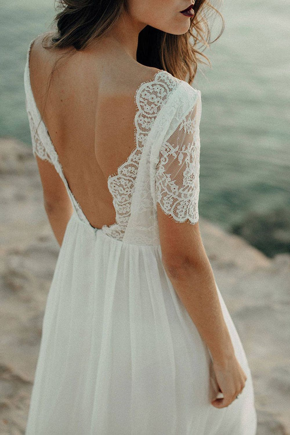 Backless Wedding Dress Lace A Line Bridal Gown With Sleeves Boho Beach Wed Short Sleeve Wedding Dress Wedding Dresses Vintage Bohemian Bateau Wedding Dress [ 1500 x 1000 Pixel ]