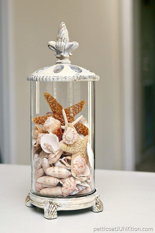 Thrifty Seashell Container Idea #thriftstorefinds