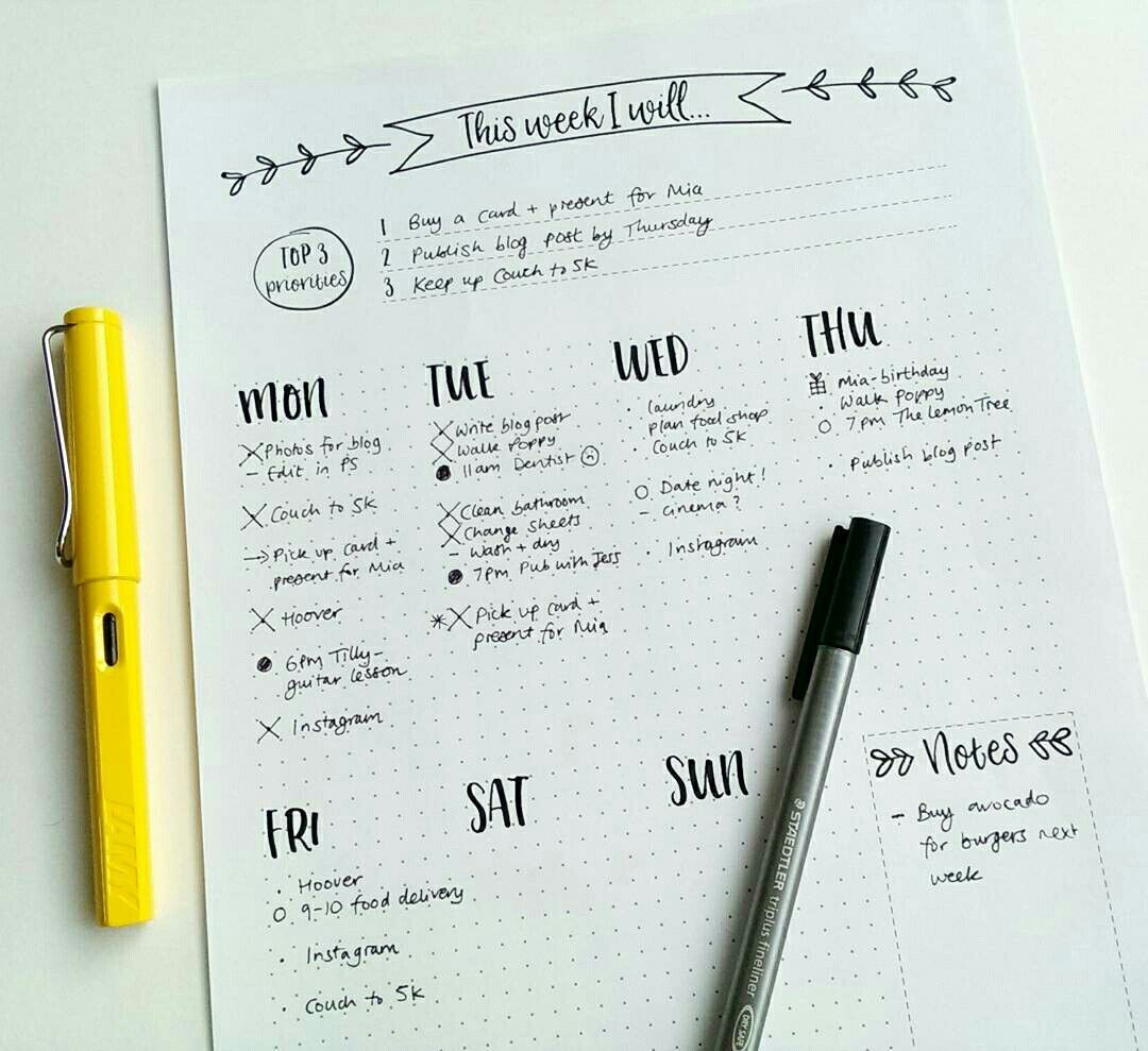 Free printable bullet journal week planner at edigitalfinch