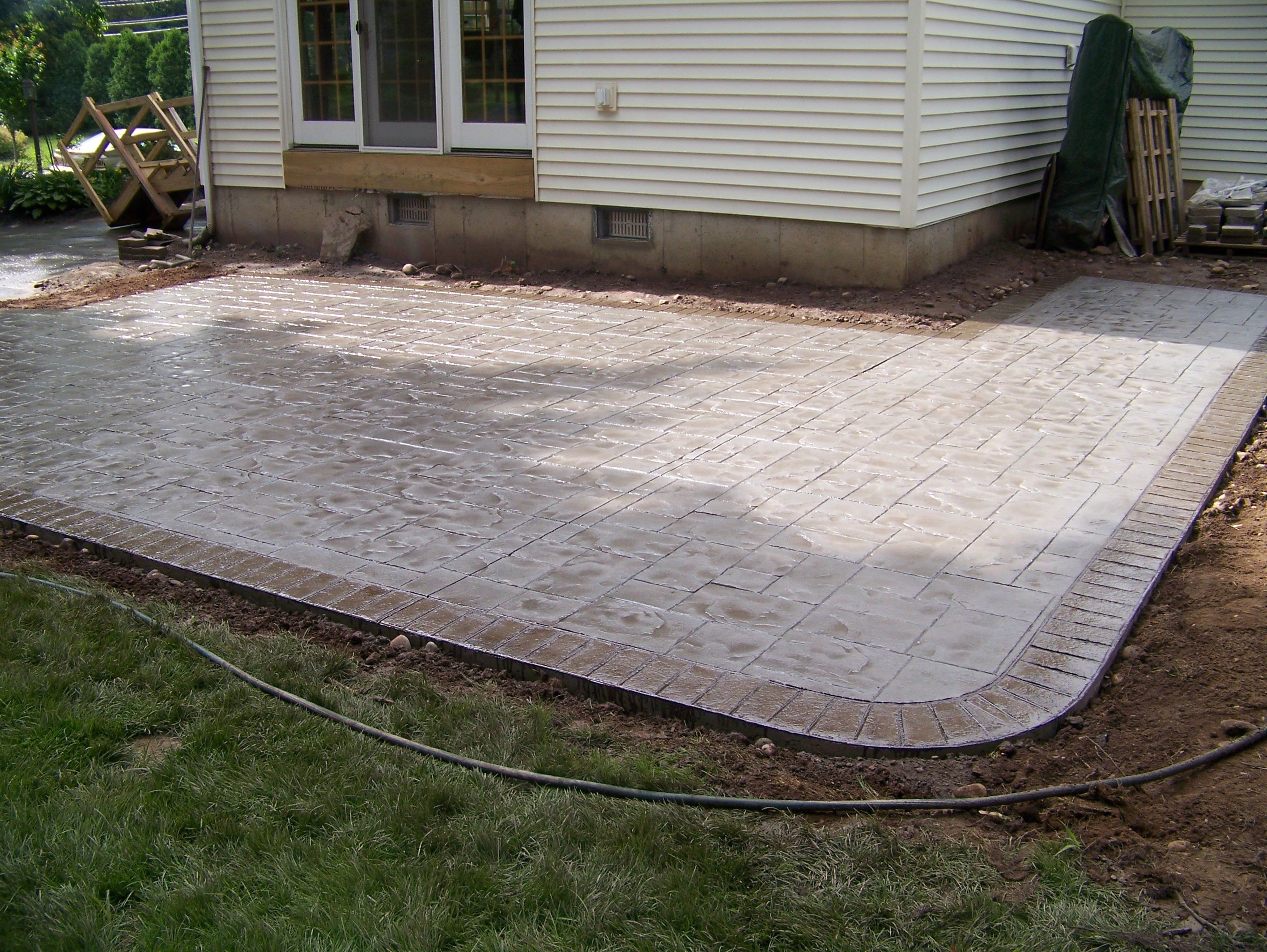 Cement Stamping Patio Home Design Ideas and