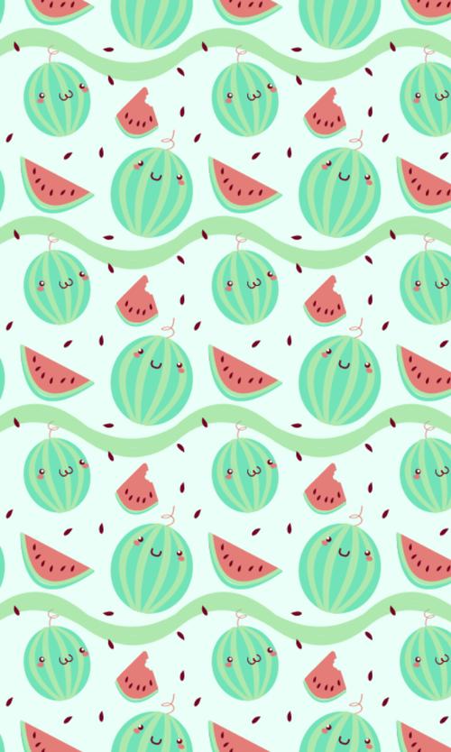kawaii watermelon wallpaper fond d 39 cran patterns wallpaper pinterest cran fond ecran. Black Bedroom Furniture Sets. Home Design Ideas