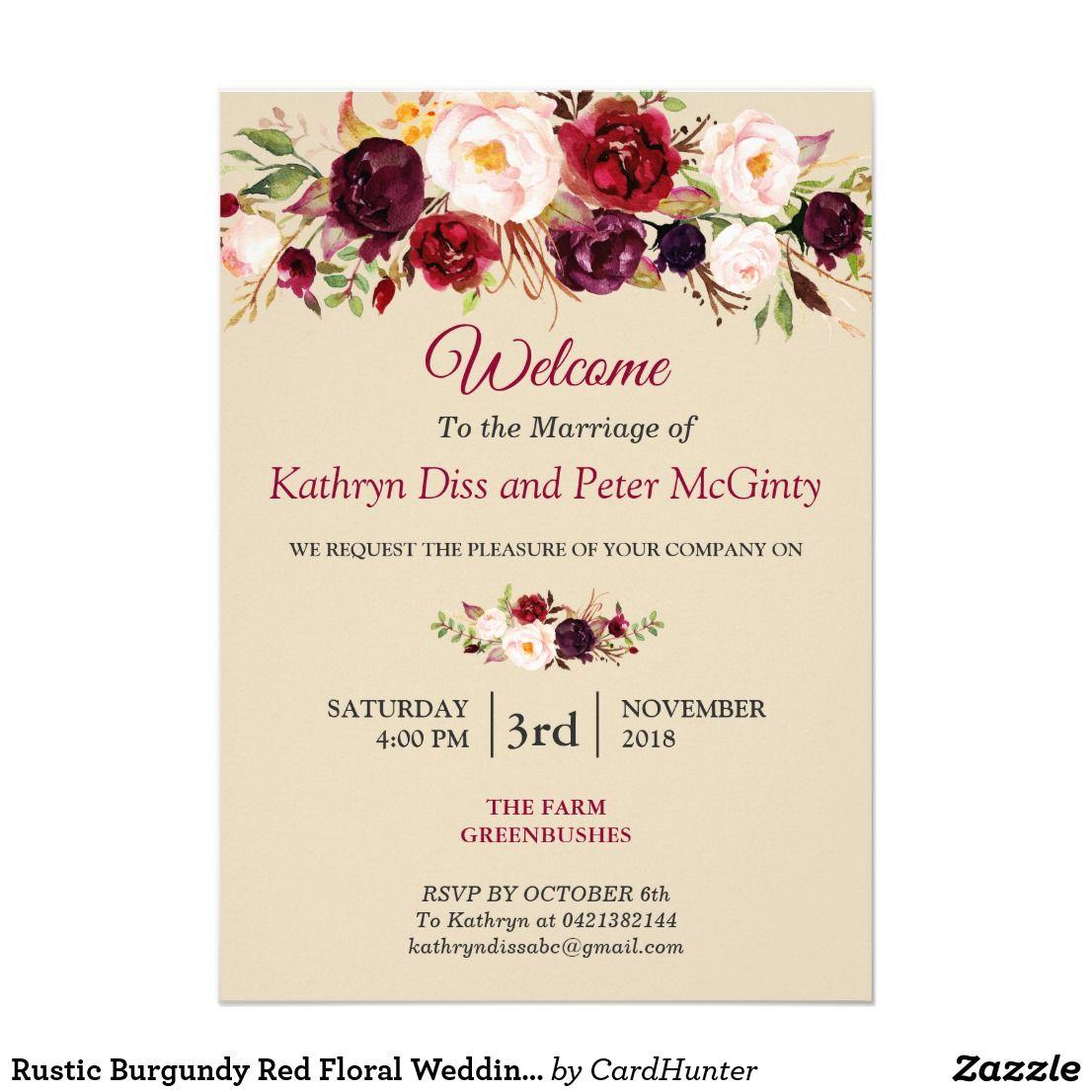 Rustic Burgundy Red Floral Wedding Vow Renewal Invitation  Wedding