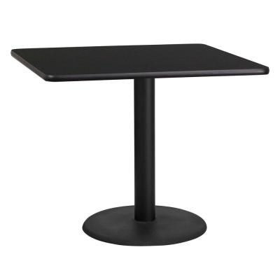 Flash Furniture 36 In Square Black Laminate Table Top With 24 In
