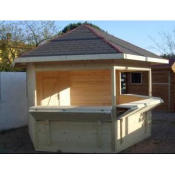 Kiosque hexagonal en bois snack bois buvette abri de for Kiosque exterieur